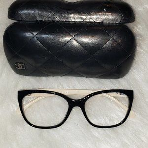 Chanel reading glasses with Case Black Tan Chanel